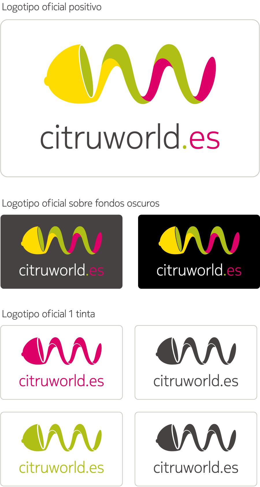 Estudio de marca Citruworld.es Aplicaciones del logotipo.